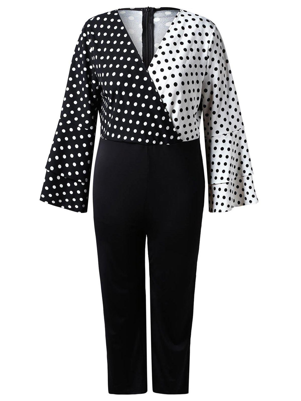 Chic Plus Size Contrast Dotted Jumpsuit