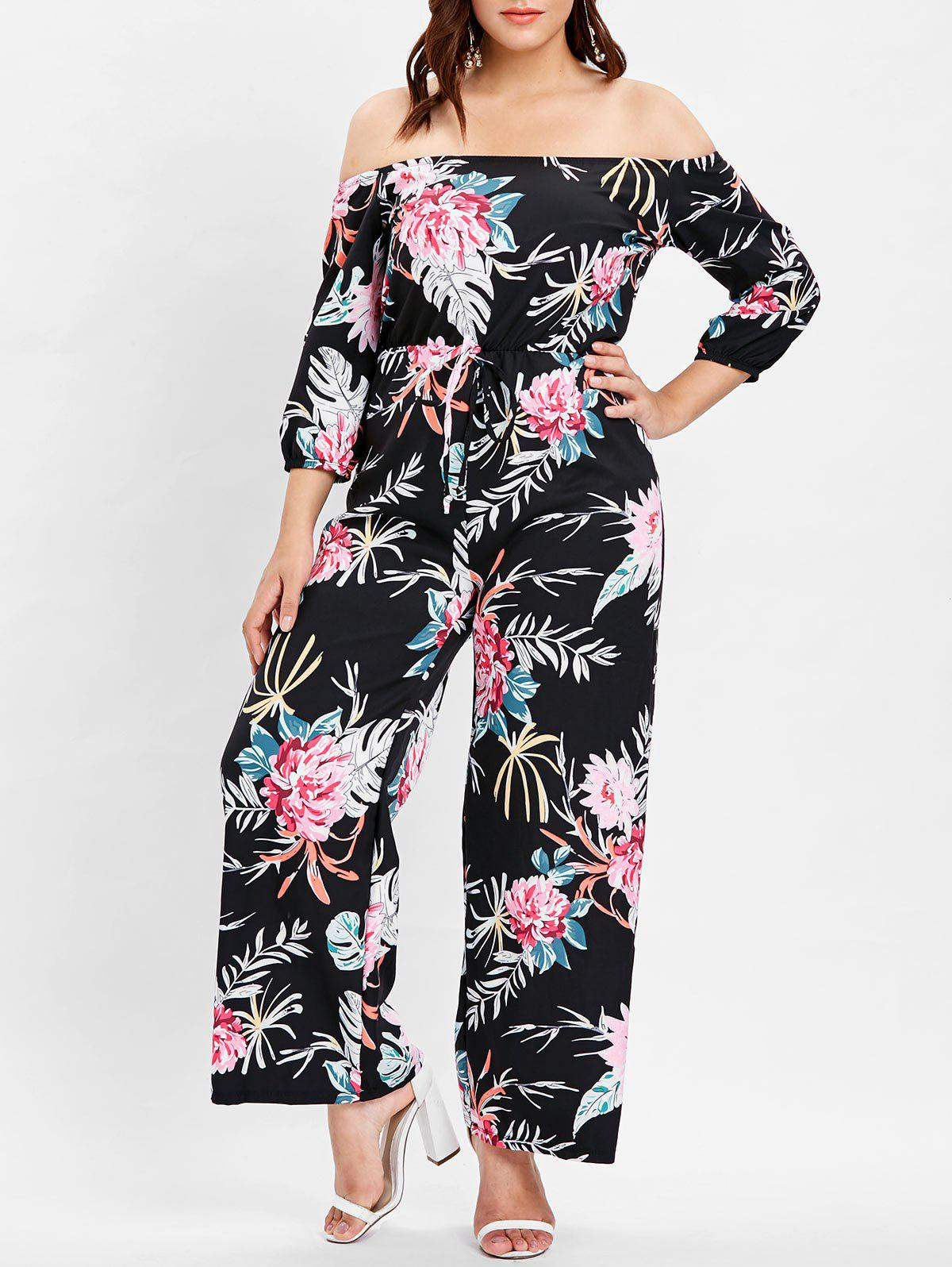 Affordable Off The Shoulder Plus Size Floral Print Jumpsuit
