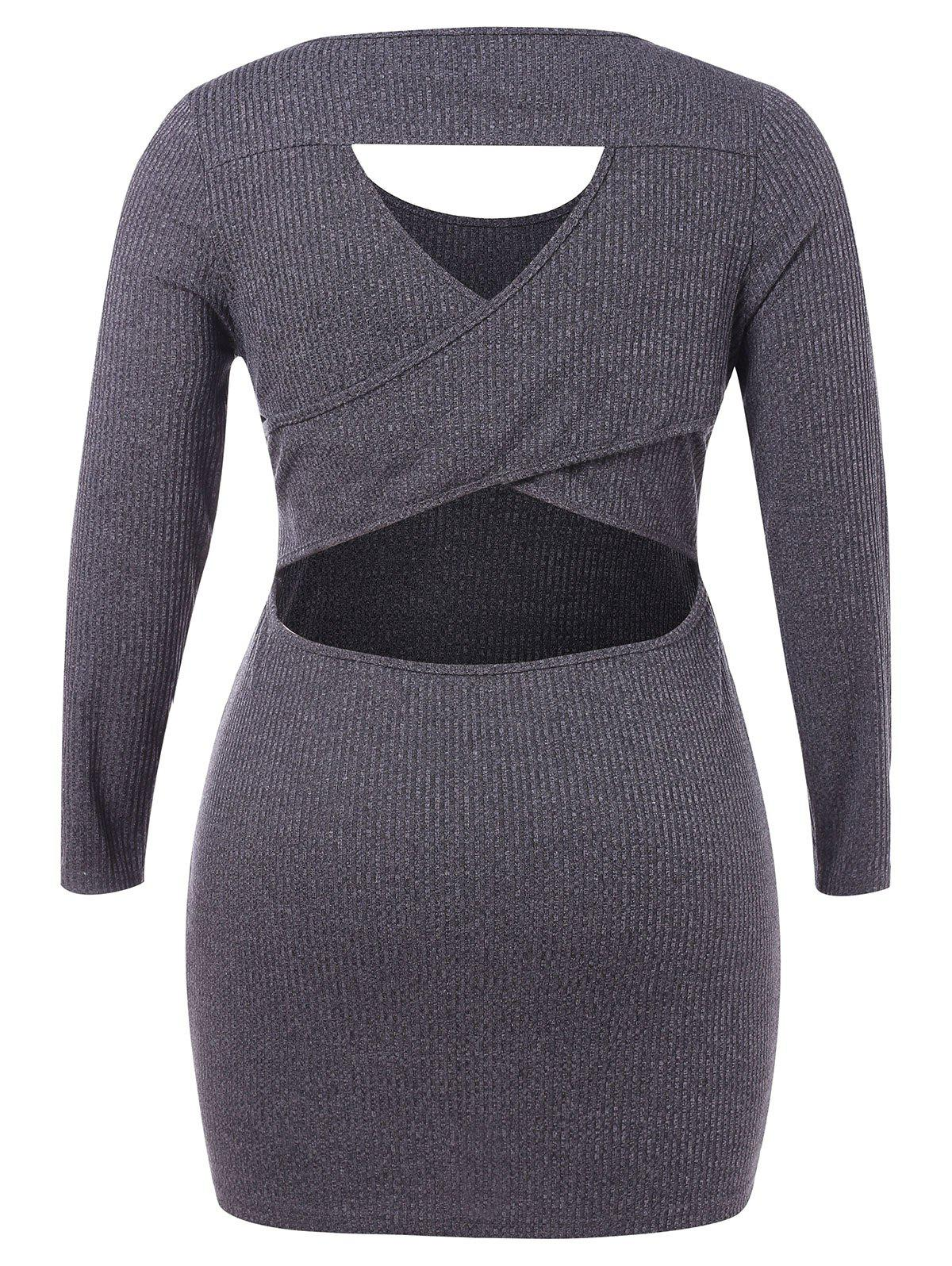 Unique Plus Size Cut Out Bodycon Knit Dress