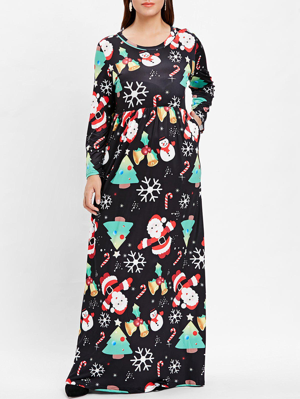 Buy Plus Size Christmas Printed Maxi A Line Dress