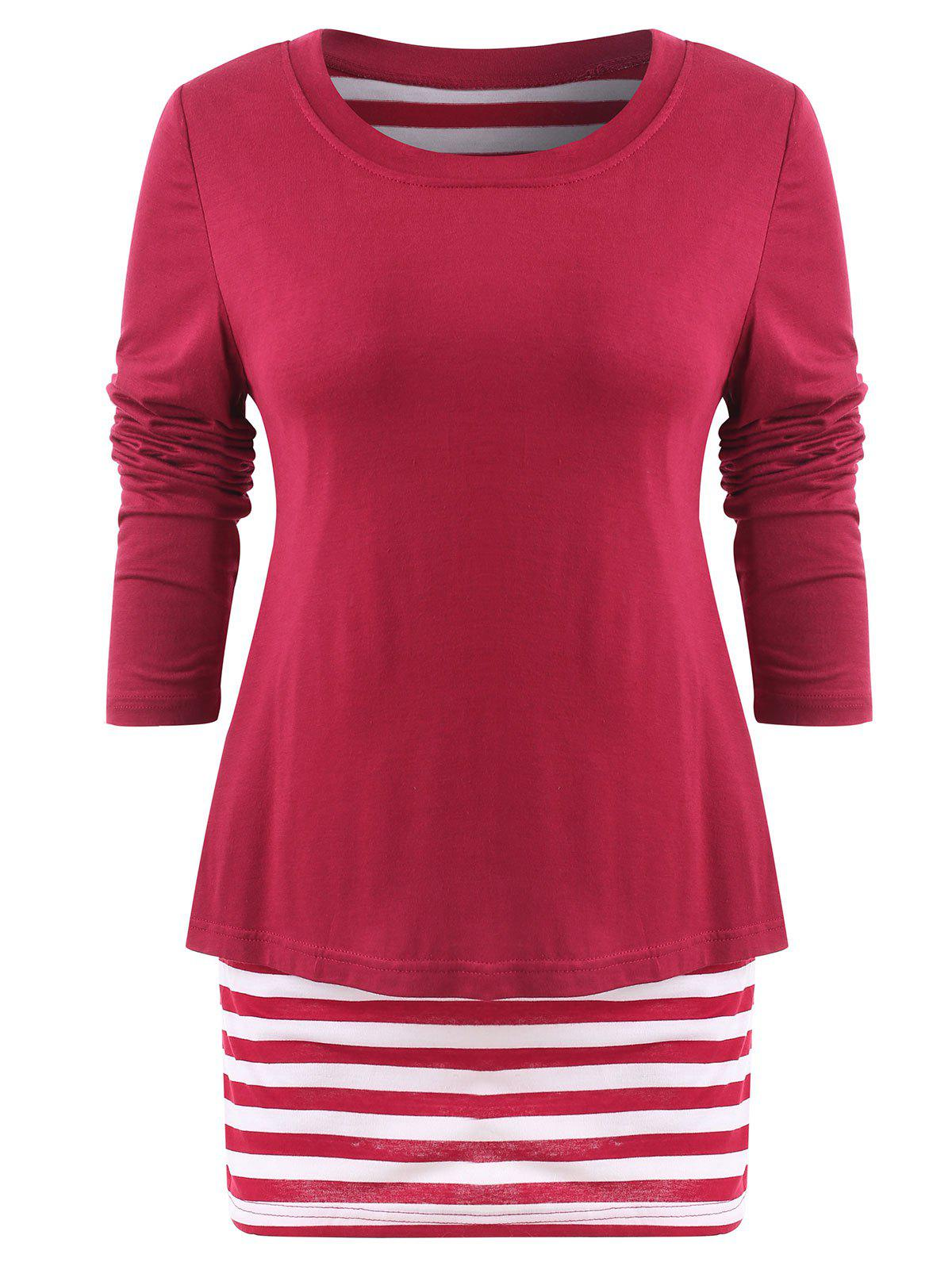 Affordable Striped Panel Long Sleeve Plain T-shirt