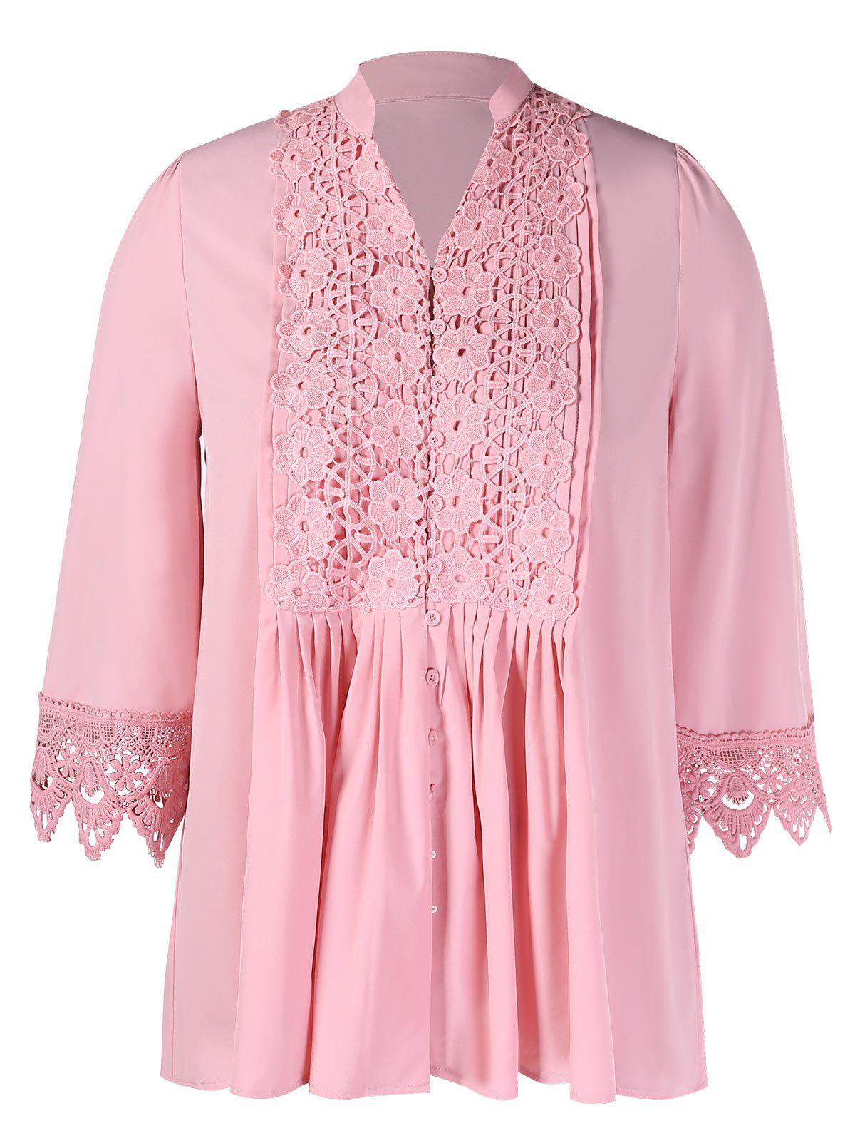 Affordable Plus Size Flower Crochet Pleated Blouse