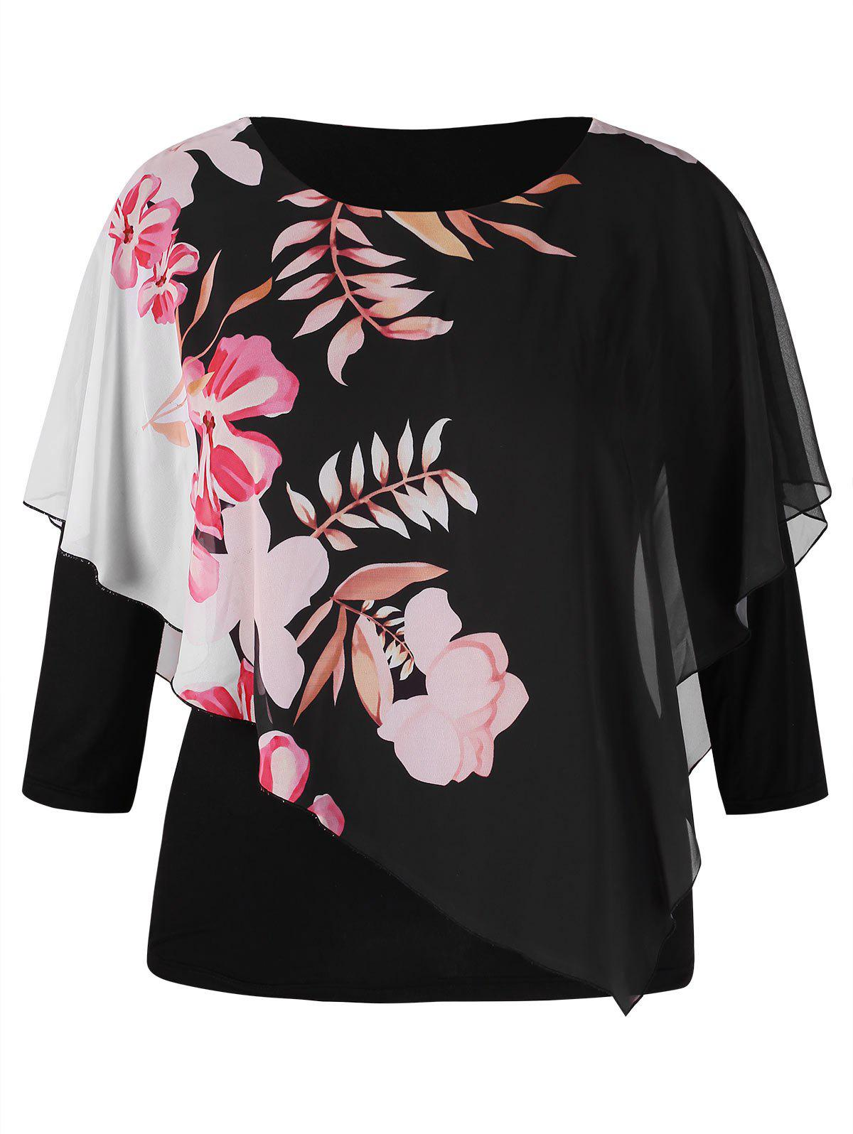 Outfits Plus Size Floral Overlay Tee