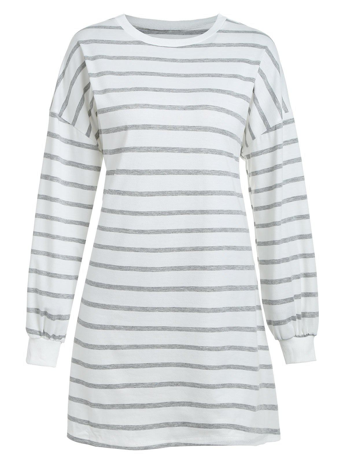 Cheap Striped Tee Dress with Drop Shoulder