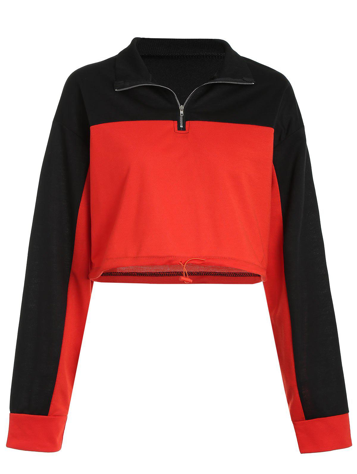 Online Two Tone Short Sweatshirt with Half Zipper