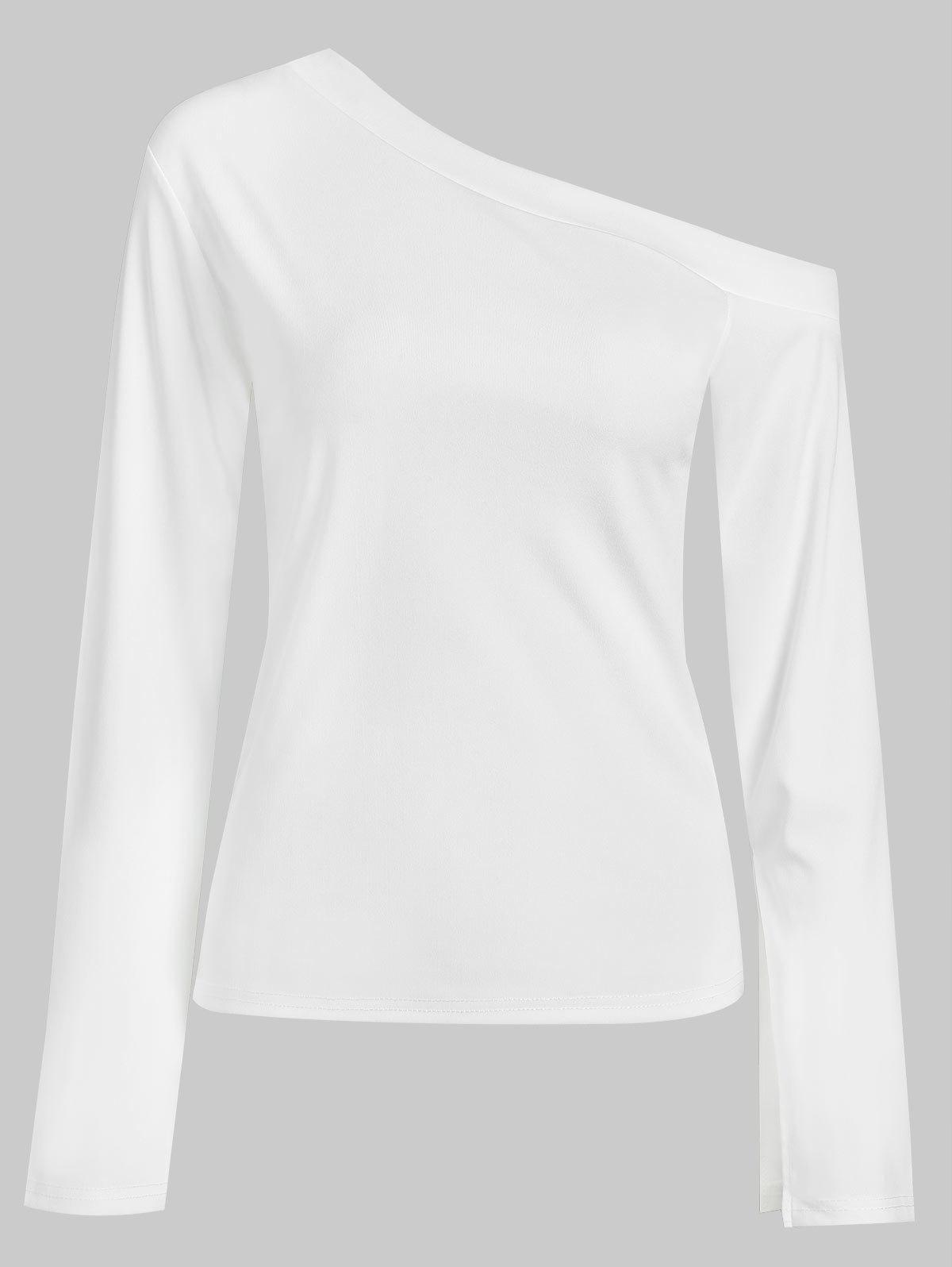 Chic Long Sleeve Tee with Skew Neck