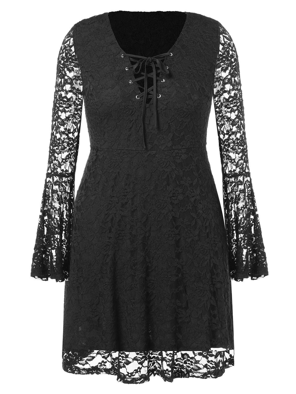 Store Plus Size Lace Up Flare Sleeve Dress