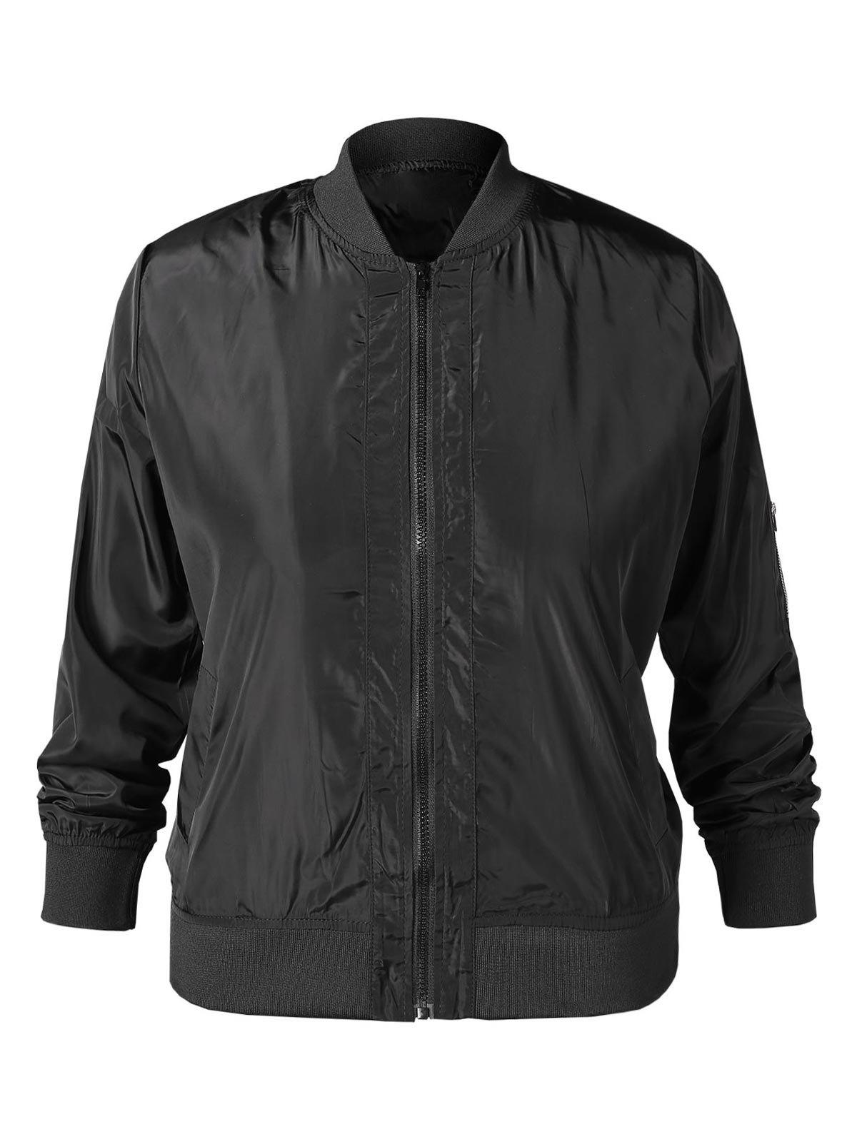 Fancy Plus Size Zipper Bomber Jacket