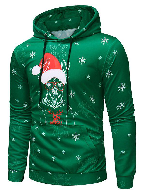 Buy Deer with Christmas Cap Print Pullover Hoodie