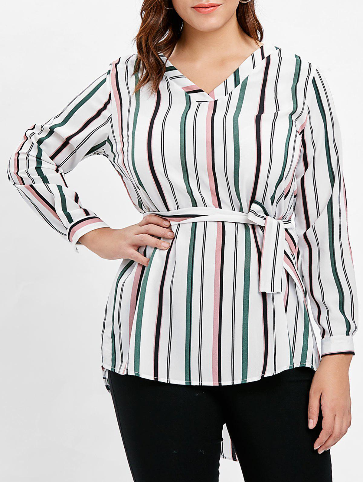 59a3ac3530fefe 75% OFF] Striped Plus Size High Low Shirt With Belt | Rosegal