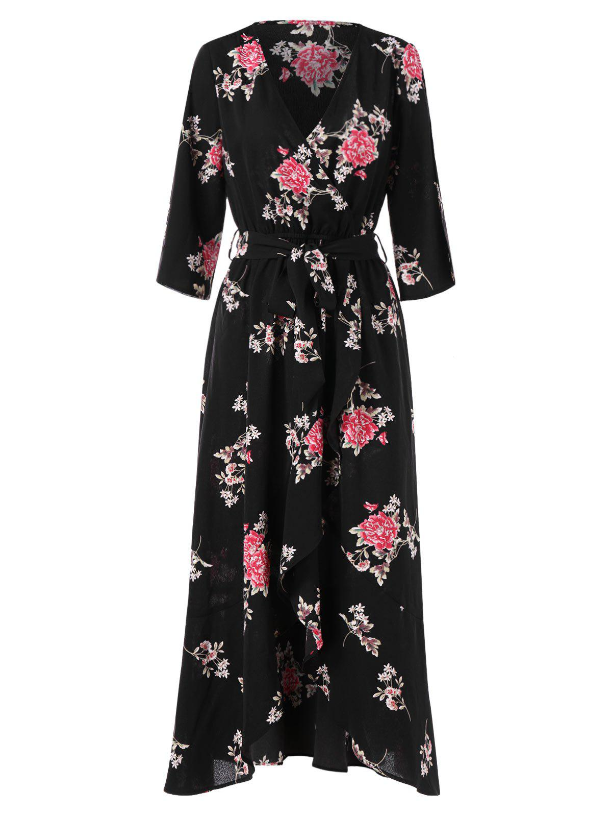 Sale Floral Print Long Faux Wrap Dress