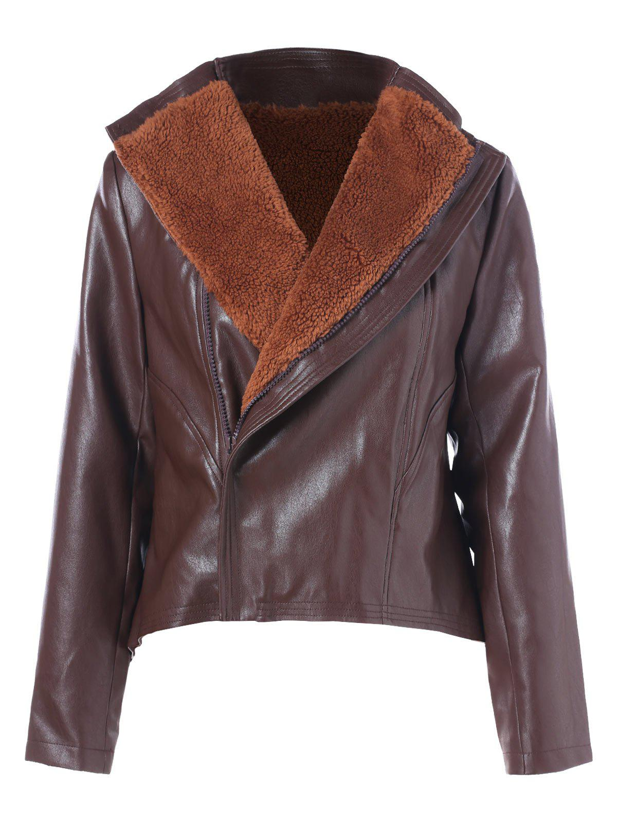 Sale Faux Lamb Collar PU Leather Jacket