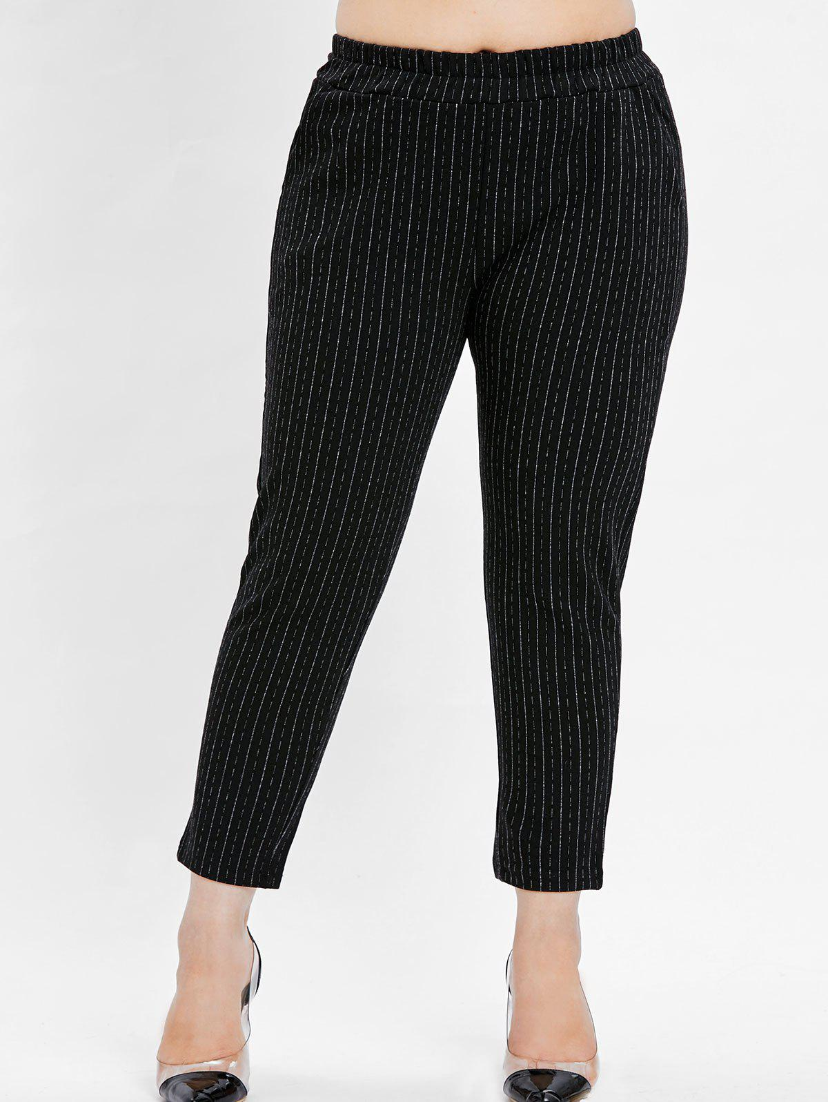 Discount Plus Size Striped Ninth Pants