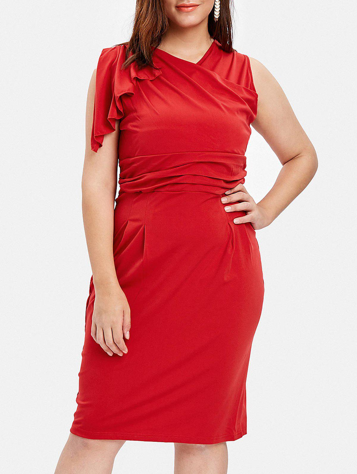 Sale Plus Size One Sleeve Tight Dress