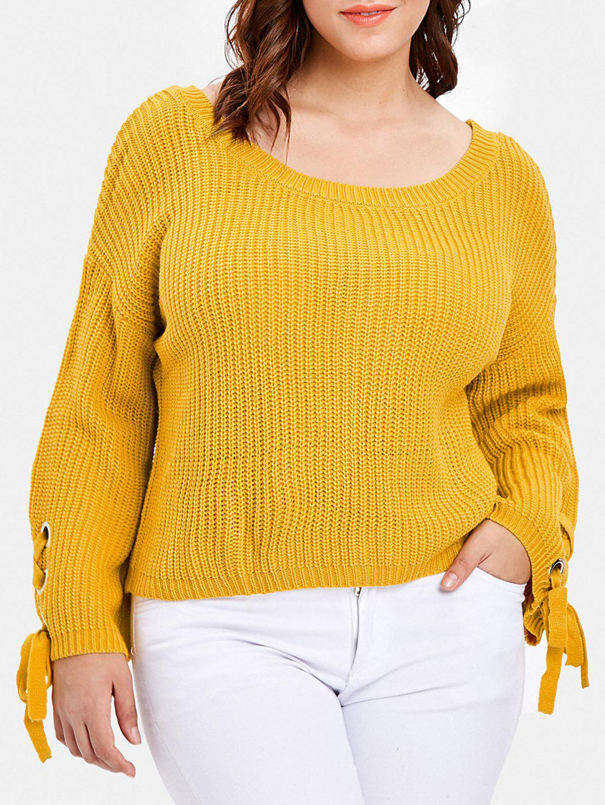fcf95105af22 66% OFF] Lace Up Sleeve Plus Size Chunky Sweater | Rosegal