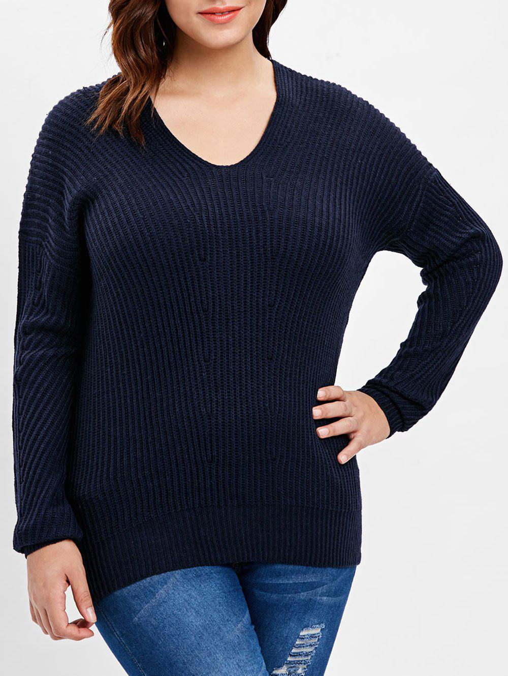Unique Plus Size Ribbed Back V Sweater