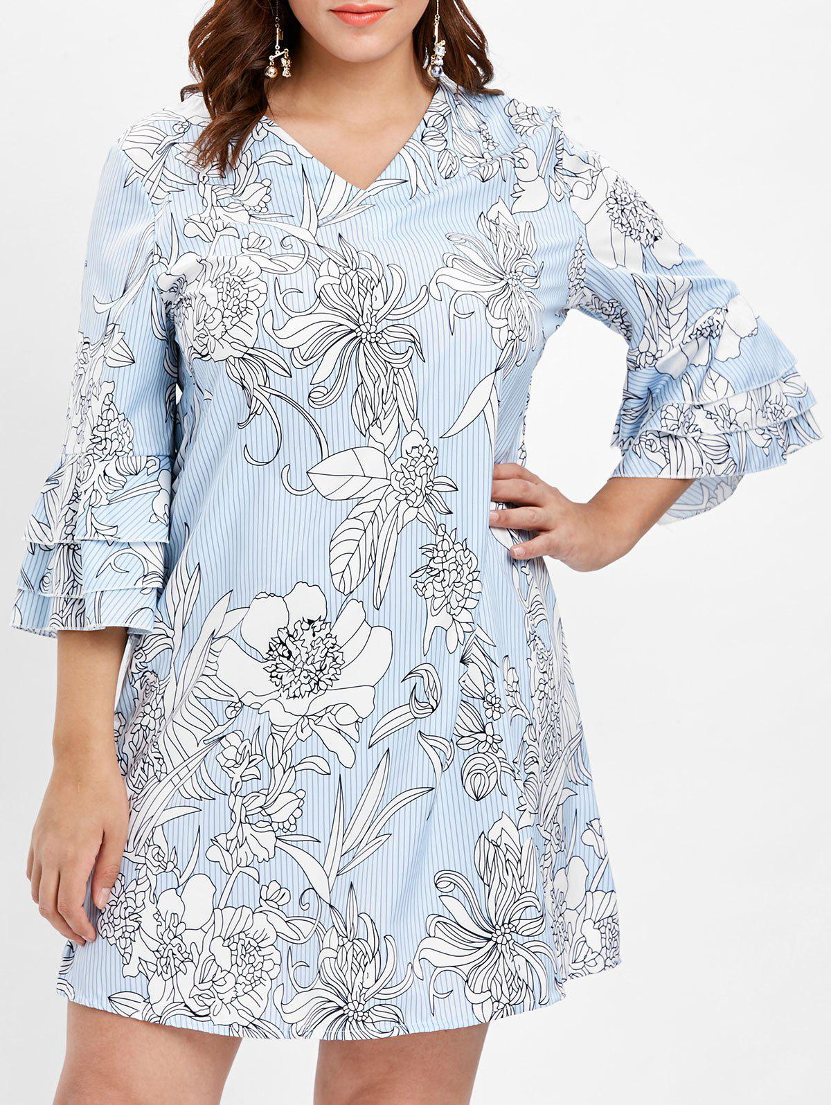 Store Layered Flare Sleeve Plus Size Floral Printed Shift Dress