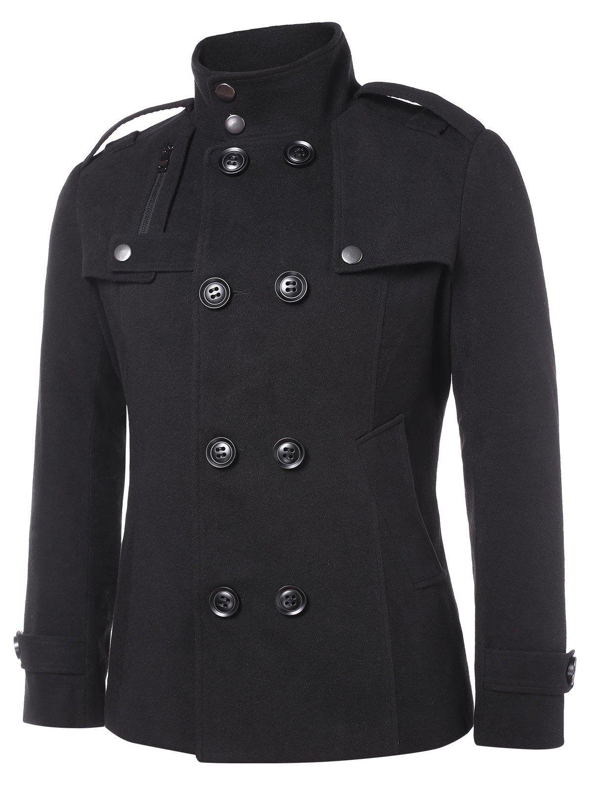 Trendy Solid Double Breasted Stand Collar Coat