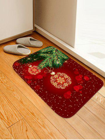 Christmas Ball Printed Non-slip Area Rug - RED - W20 X L31.5 INCH