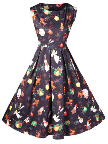 Christmas Vintage Printed Fit and Flare Dress