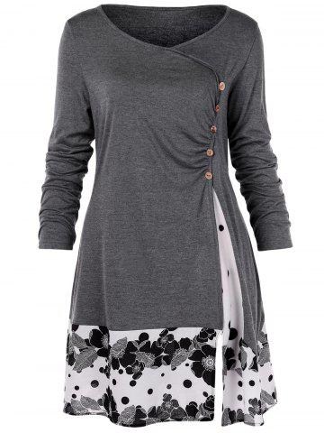 Plus Size Draped Floral Long Tunic Tee
