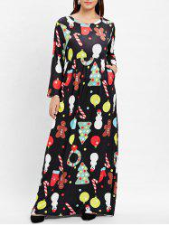 Plus Size Printed Maxi Christmas Dress -