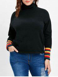 Plus Size Striped Turtleneck T-shirt -