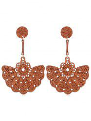 Bohemian Floral Hollow Out Wooden Earrings -