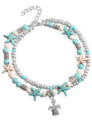 Sea Star and Turtle Layered Chain Anklet -