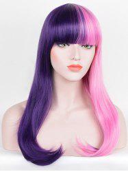 Long Full Bang Two Tone Straight Party Cosplay Synthetic Wig -