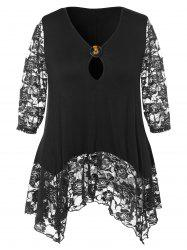 Lace Hem Plus Size Keyhole Neck T-shirt -