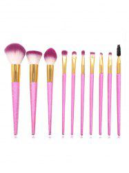 10Pcs Colored Handles Ultra Soft Blush Powder Eyebrow Eyeshadow Makeup Brush Set -