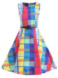 Checked Mid Fit and Flare Dress -