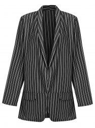 Striped Long Blazer with Open Front -