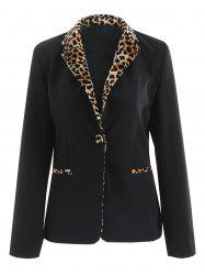 One Button Leopard Print Panel Blazer -