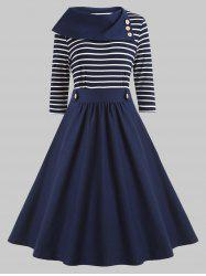 Plus Size Striped Panel Vintage Dress -