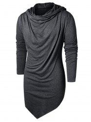 Long Sleeve Asymmetric Hooded T-shirt -