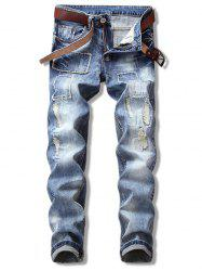 Patch Ripped Straight Leg Cuffed Jeans -