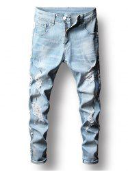 Distressed Letter Printed Zip Fly Jeans -