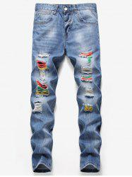 Colorful Splashed Paint Destroyed Jeans -