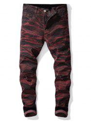 Tie-dye Destroyed Straight Leg Jeans -