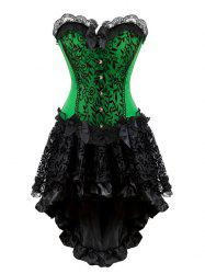 Lace Panel Plus Size Corset with High Low Skirt -