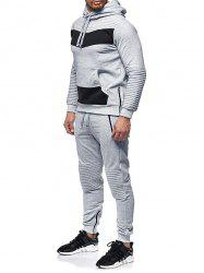 Zipper Embellished Patchwork Casual Activewear Suit -