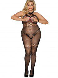 Plus Size Crotchless Lingerie Bodystocking -