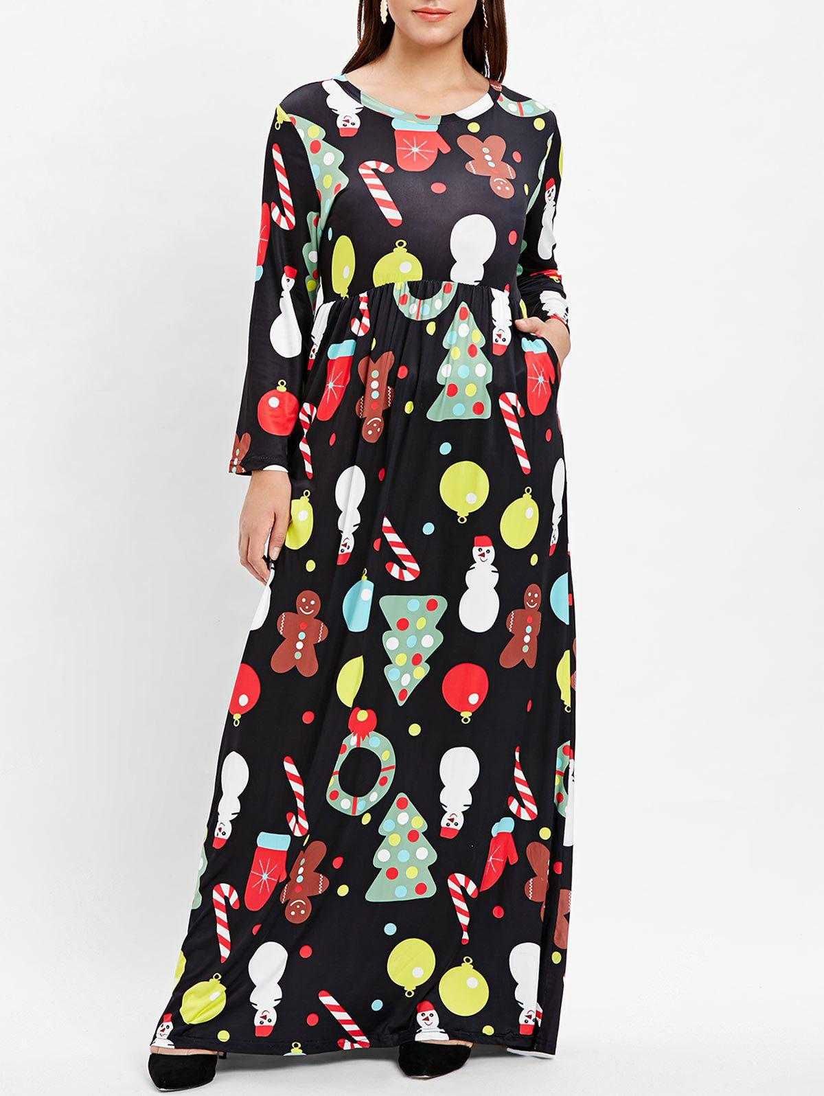 Discount Plus Size Printed Maxi Christmas Dress