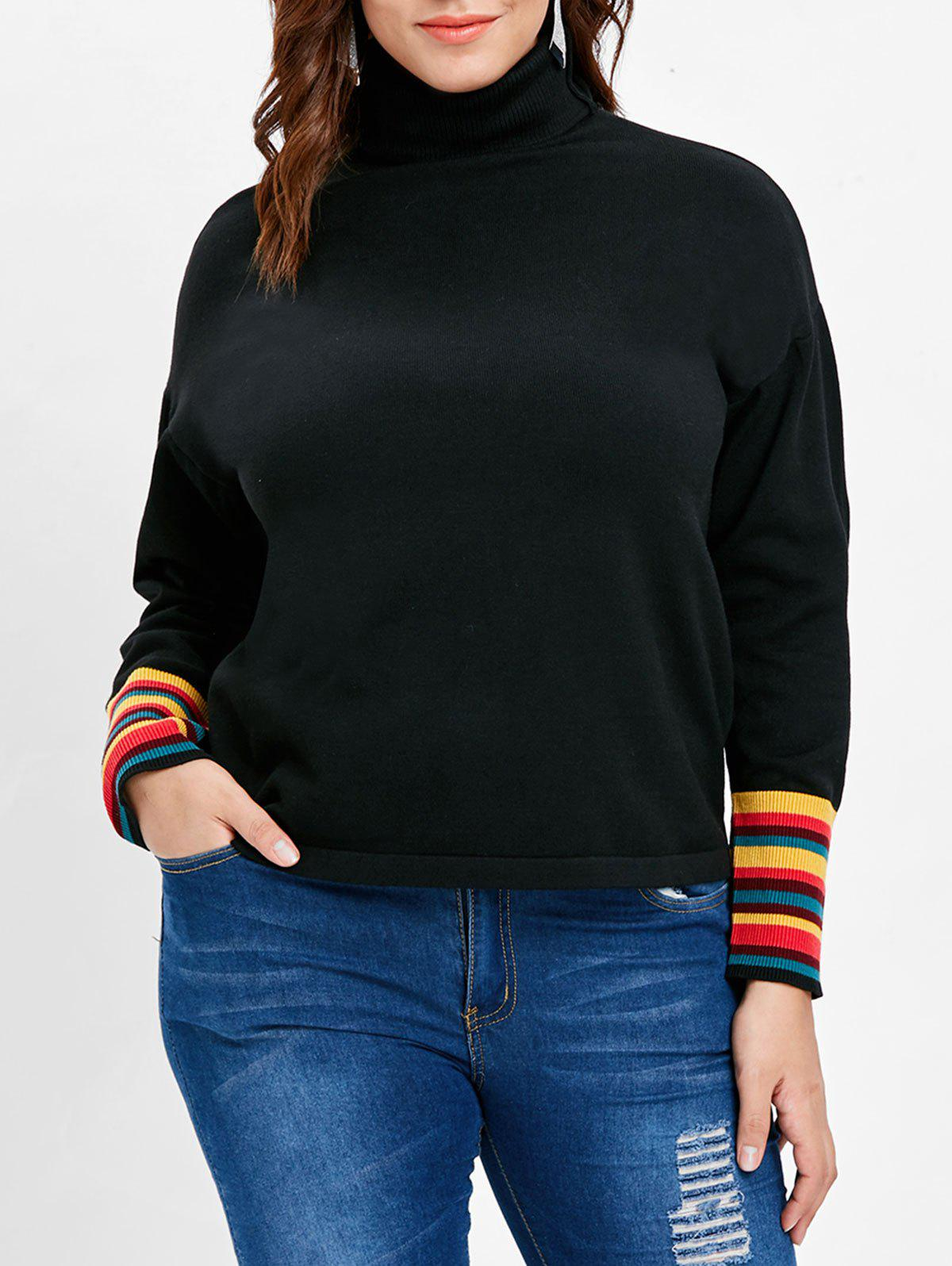 Affordable Plus Size Striped Turtleneck T-shirt