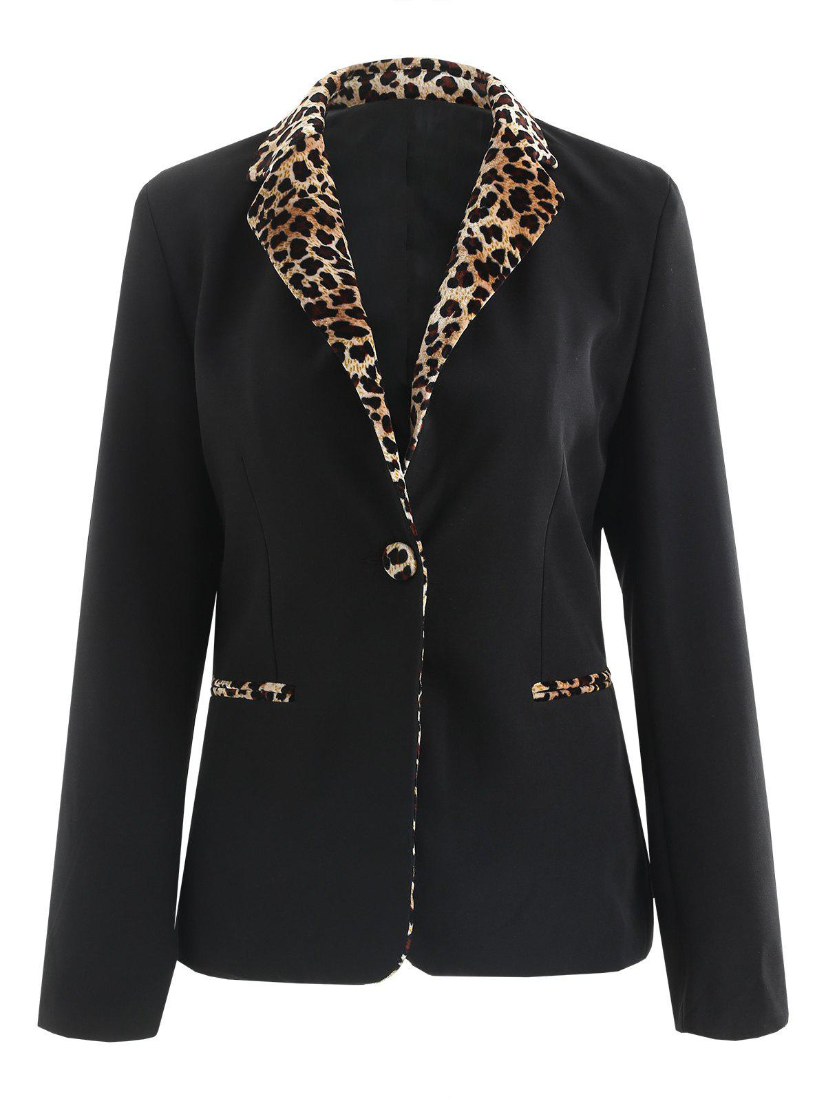 Shops One Button Leopard Print Panel Blazer