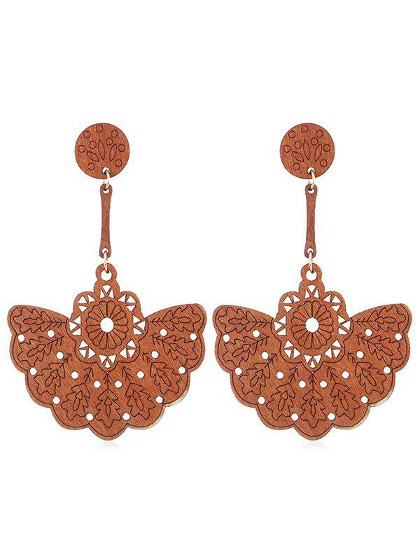 Online Bohemian Floral Hollow Out Wooden Earrings