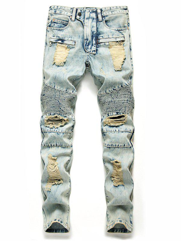 Hot Destroyed Zip Fly Biker Jeans