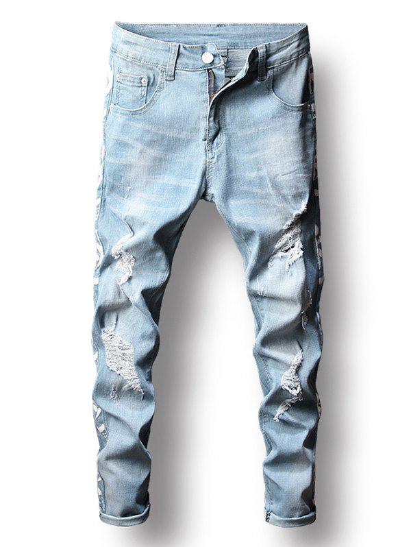 Latest Distressed Letter Printed Zip Fly Jeans